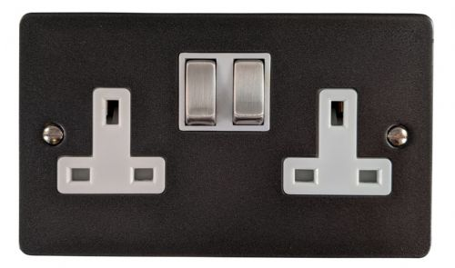 G&H FP210 Flat Plate Pewter 2 Gang Double 13A Switched Plug Socket